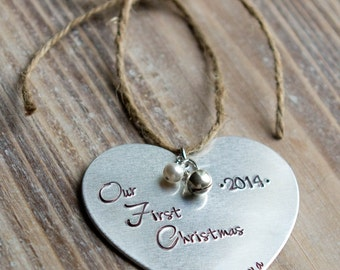 Personalized Christmas Ornament - Handstamped Custom Silver Heart Ornament - Family Ornament - First Christmas - New Baby - Christmas Gift