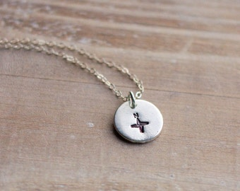 Compass Necklace - Sterling Silver - Pewter - Tiny Compass - Hand Stamped - Journey - Direction - Gift for Her - Valentine's Day Gift