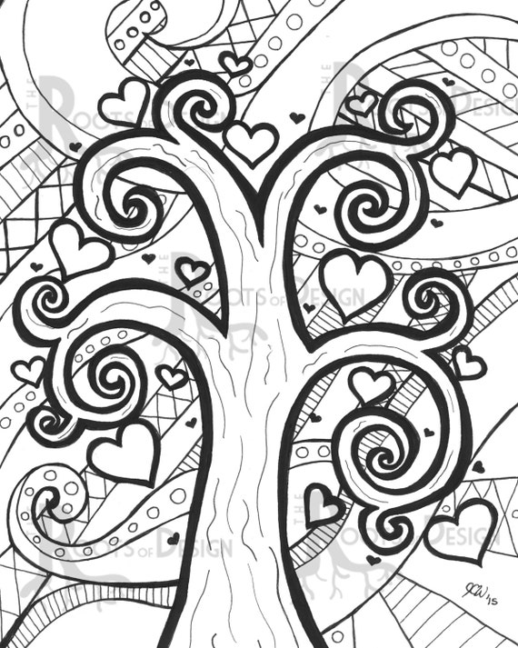 zentangle coloring pages tree paint