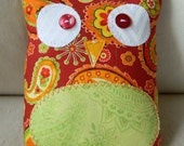 Ollie the Owlet - Red with green, yellow, orange paisley