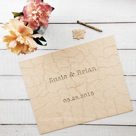 140 pc custom wedding guest book puzzle custom by