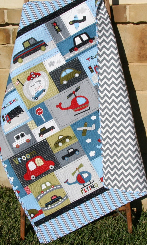 Car Quilt Baby Boy Toddler Bedding Vehicles Trucks Cars