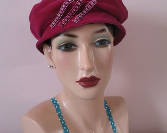 1960's Pink Hat, Jewel Tam Beret