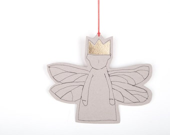 Paper gift tag , Xmas ornament , dwarf angel , Gold Foil crown , dragonfly wings , Hanging Ornament  , Party Supplies , Christmas Angel