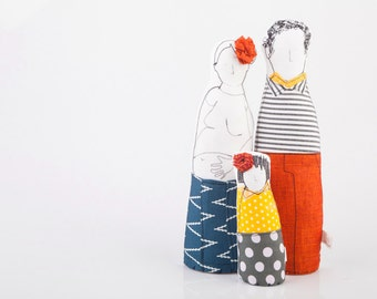 Handmade  soft sculpture, family dolls - man in striped shirt scarf , orange pants, pregnant Mom in Navy blue skirt & girl in dotted yellow