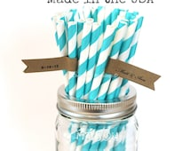 Aqua Paper Straws, 100 Aqua Straws, Made in USA, Wedding Table Setting, Baby Shower, Rustic, Paper Goods, Princess Party Supplies, Vintage,