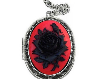 Cameo Locket Necklace. Antiqued Silver Oval Locket with Red Black Large Rose, Victorian Vintage Inspired, Christmas Gift