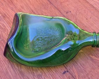 green recycled liquor bottle slumped bowl