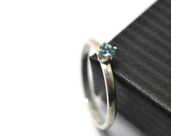 Dainty Sky Blue Topaz Ring, Blue Gemstone Ring, Silver Stacking Ring, Simple Engagement Ring