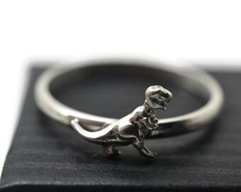 Tyrannosaurus Rex Ring, Silver Dinosaur Jewelry, T-Rex Ring, Scary Monster Ring, Silver Animal Jewelry