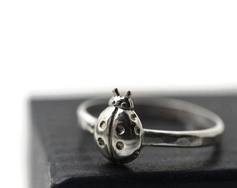 Silver Ladybird Ring, Ladybug Jewelry, Sterling Silver Insect Ring, Hammered Silver Ring, Insect Jewelry