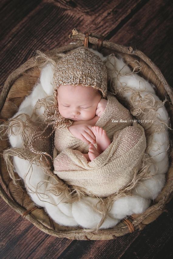 Newborn Knit Baby Bonnet | Newborn Knit Photo Prop | Newborn Alpaca Baby Bonnet | Handspun Knit Baby Bonnet | Newborn Photo Prop