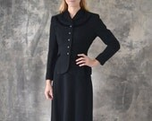 1940s Suit Tailored Black Wool size m