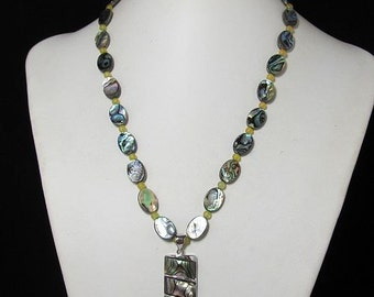 Necklace 19 inch with Pendant IN Abalone Shell 925 Silver