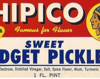 Chipico Sweet Midget Pickles Vintage Jar Label, 1950s