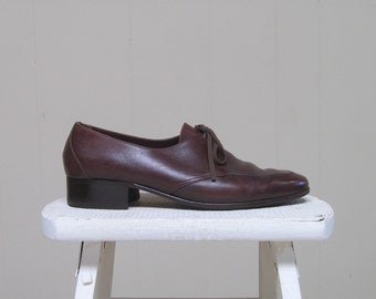 Vintage 1970s Mens Shoes / 70s BALLY of Switzerland Brown Leather Oxfords 8 1/2 US