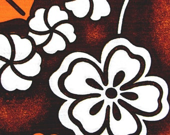 """Vintage 1960s Hawaiian Fabric / 60s Cotton Barkcloth Stylized Floral Print / New Old Stock / By the Yard / 3 Yards Available / 45"""" Width"""