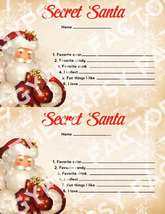 Secret Santa Questionnaire Invitation Form Gift Ideas