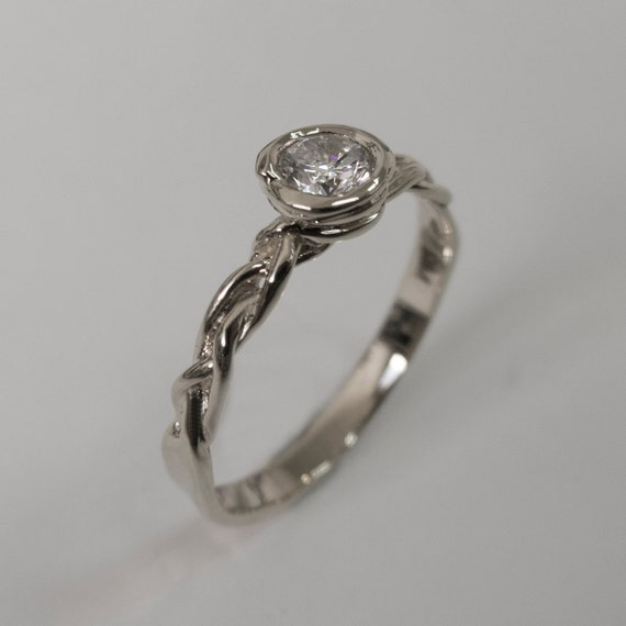 braided engagement ring no 3 14k white gold and by doronmerav
