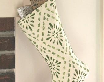 Green Geometric Christmas Stocking - Green Stencil - Diamond Pattern - Green and Ivory