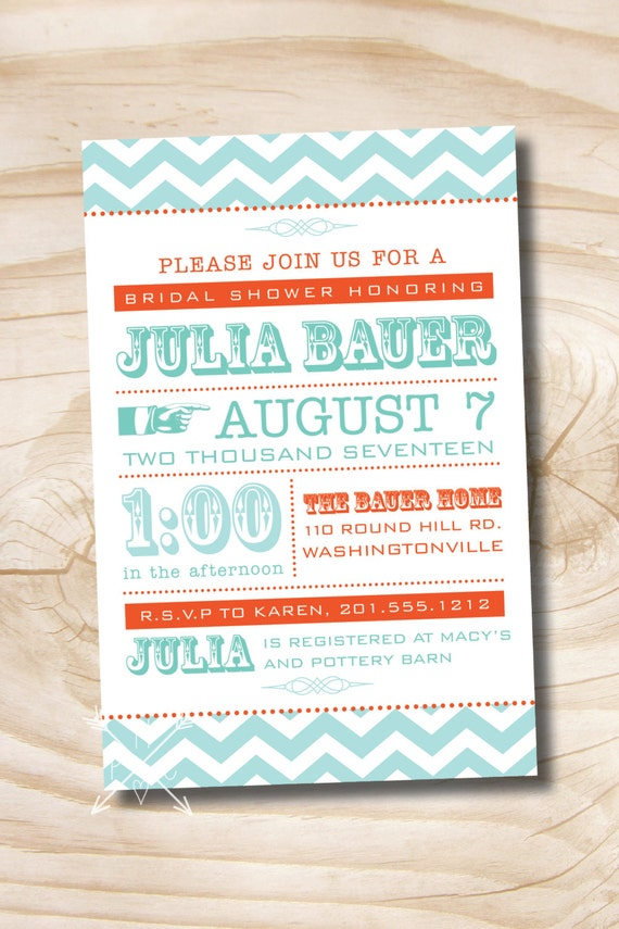 MODERN CHEVRON Bridal Shower Invitation - Printable digital file or printed invitations