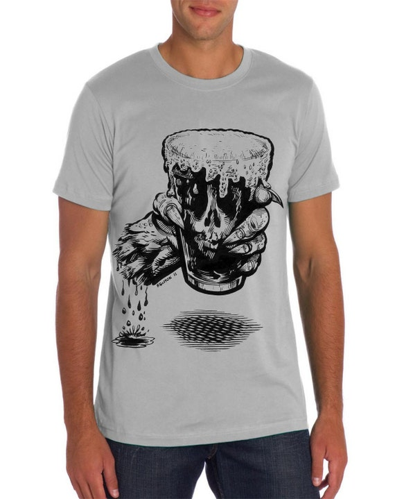 Zombie t shirt funny beer shirt beer zombie craft by for Funny craft beer shirts