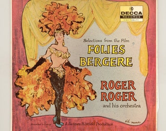 Selections from the film Folies Bergere Performed by Roger Roger & his Orchestra Vintage Record Album, 1957 Decca LP French Poster Art Style