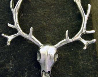 Sterling Silver Elk Skull Pendant on a Sterling Silver Chain