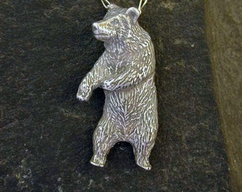 Sterling Silver Grizzly Bear Pendant on a Sterling Silver Chain
