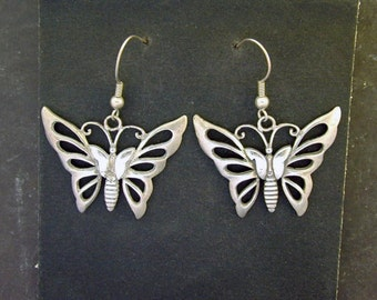 Sterling Silver Large Butterfly Earrings on Sterling Silver French Wires