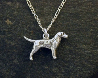 Sterling Silver Hunting Labrador Retriever Dog Pendant on Sterling Silver Chain.