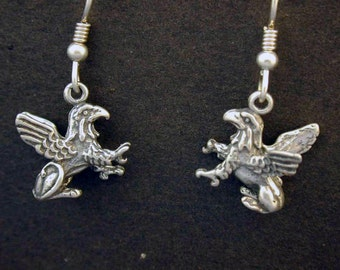 Sterling Silver Gargoyle Earrings on Heavy Sterling Silver French Wires