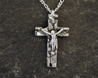 Sterling Silver Crucifix Pendant on a Sterling Silver Chain