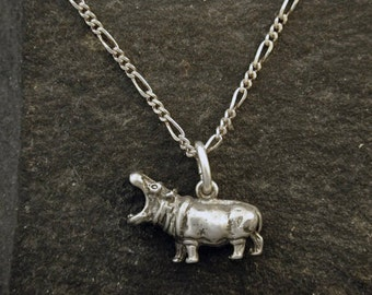Sterling Silver Hippopotomus Hippo Pendant on a Sterling Silver Chain.