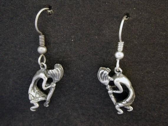Sterling Silver Kokopeli earrings on Heavy Sterling Silver French Wires