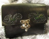 In-Stock Leather Belt Bag Medieval, Green Man Design, Belt Pouch Small, Leather Bag, LARP, SCA, Costume, Ren Faire, Black, Clearance
