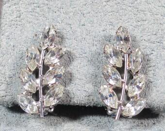 Vintage Signed B. David Rhinestone Earrings, Beautiful High End Rhinestone Earrings, Mint