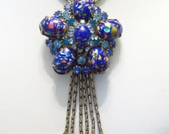 MIRIAM HASKELL Jewelry Necklace Blue Glass Rhinestone Brass Chain Flower Pendant