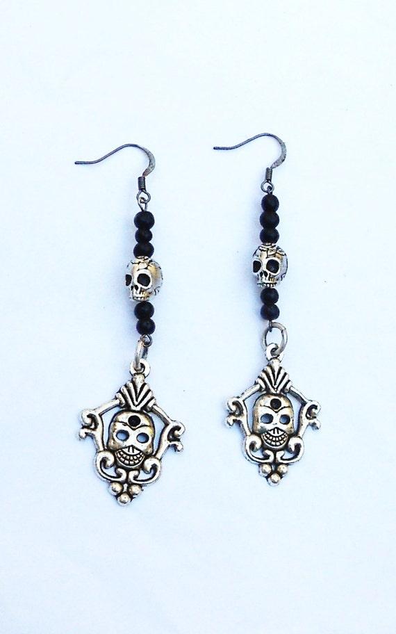 silver and black skull beaded earrings