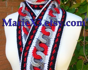 Chain of Linked Circles Crochet Scarf Red, Black, Grey, White