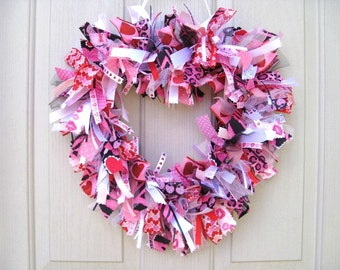 Valentines Day Wreath, Valentine Heart Fabric Ribbon Wreath, Valentine Decor, Zebra Animal Print Wreath, Pink Red Heart Valentines Day Decor