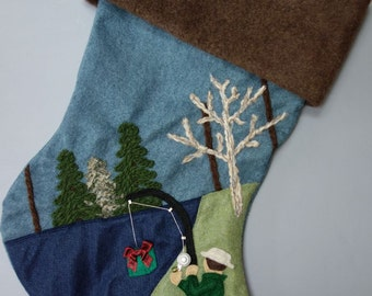 "Fisherman Christmas Stocking--""Fishing for Presents"""