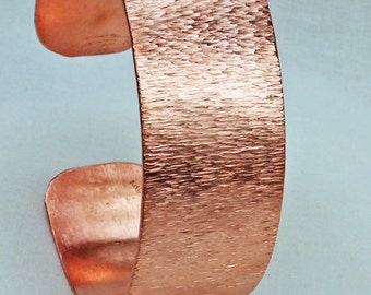 Large Copper Cuff Glossy Bracelet with Bark Texture