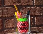 Teacher Apple Desk Pencil Cup- Personalized Teacher Gift