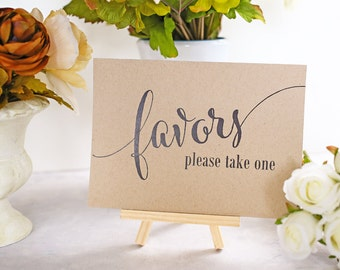 Favor Table Sign, Wedding Favor Sign, Party Favor, Bridal Shower Decoration, Rustic Reception Signage - Size 5 x 7 inches (CAN - SIGN)