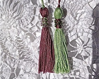 FRENCH PASSEMENTERIE TASSELS Beaded Purple and Green Tassels  Art Deco Style Millinery and Needlework Supplies