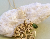 Warm Golden Bronze 'Tree of Life' Pendant & Green Tourmaline Necklace~Yoga Jewelry