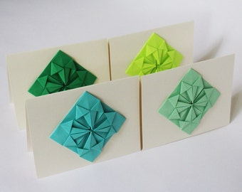 Origami Cards - Set of 4 Blank Greeting Cards - Thank you cards, Christmas Cards, Geometric, Modern, Handmade Origami Stationery