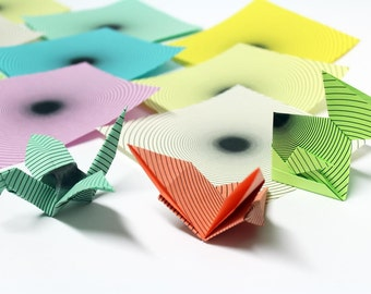 Radial Circles Origami Paper 16 sheets, Medium Sized 5 Inch, Unique Modern Geometric Origami Paper,  Assorted Rainbow Pack