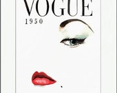 Vintage Vogue Magazine Cover. Fashion Illustration. Print and White Mat. Frame Ready. 8x10 or 11x14